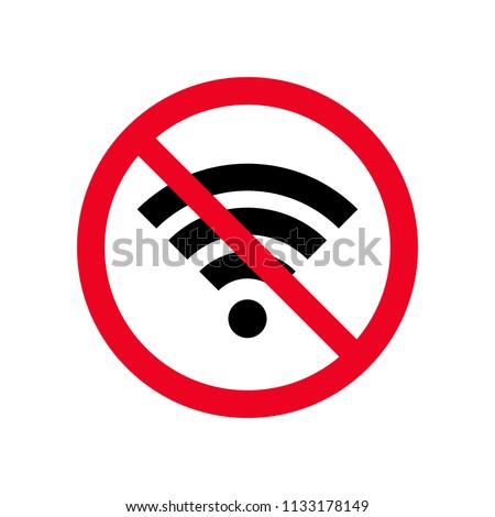 No wireless wifi or sign for remote internet access icon vector on white background, Red prohibition sign. Flat style for graphic and web design