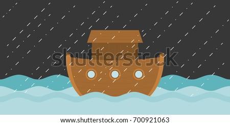 Noah's ark in raining, vector illustration flat design