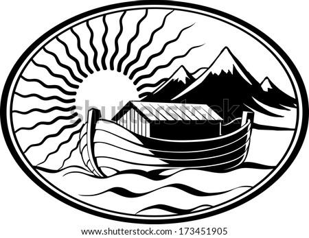 Noahs Ark In The Sea Near Land Mountains Illuminated By Sun