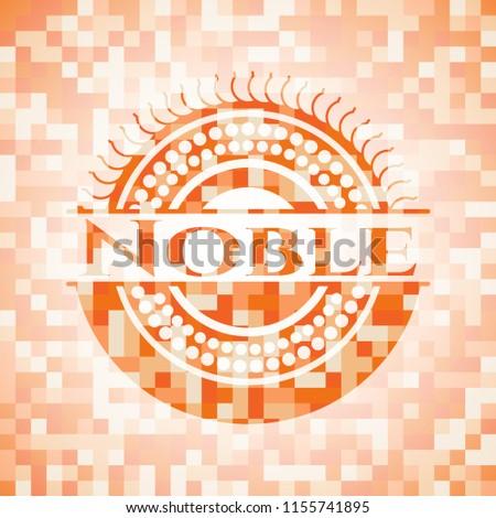 Noble abstract orange mosaic emblem