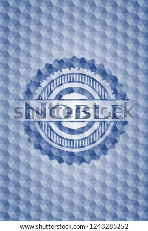 Noble blue badge with geometric background.