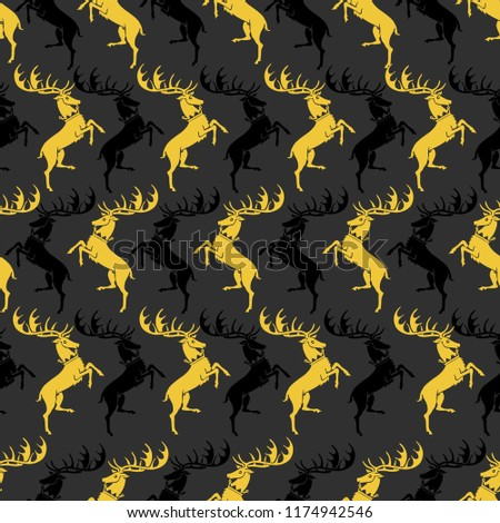 Noble deer on a dark gray background. Seamless pattern. Design for the background of the site, textiles, paper, packaging materials.