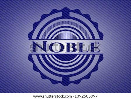 Noble emblem with jean background. Vector Illustration. Detailed.