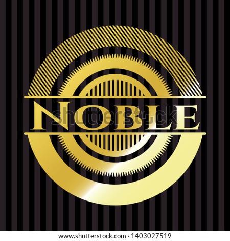 Noble gold emblem or badge. Vector Illustration. Detailed.