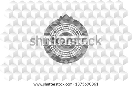 Noble grey badge with geometric cube white background