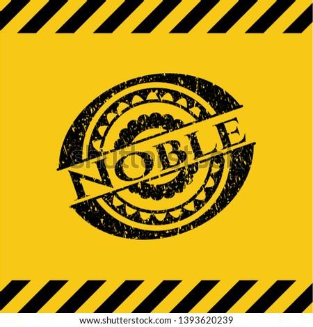Noble grunge black emblem with yellow background, warning sign. Vector Illustration. Detailed.