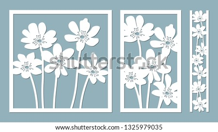 noble hepatica. Vector illustration. Paper flower, stickers. Laser cut. Template for laser cutting and Plotter. Vector illustration. Pattern for the laser cut, serigraphy, plotter and screen printing
