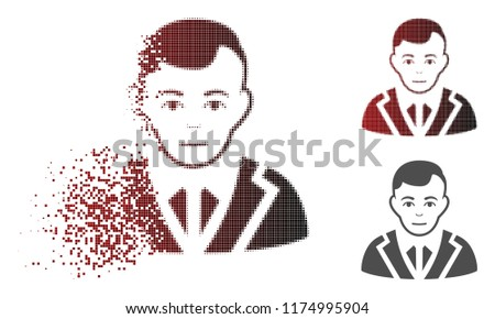 Noble icon with face in sparkle, dotted halftone and undamaged entire versions. Particles are combined into vector disappearing noble symbol.