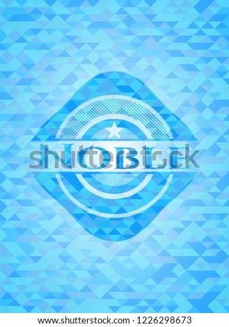 Noble light blue emblem with mosaic background