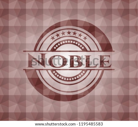 Noble red emblem with geometric pattern background. Seamless.