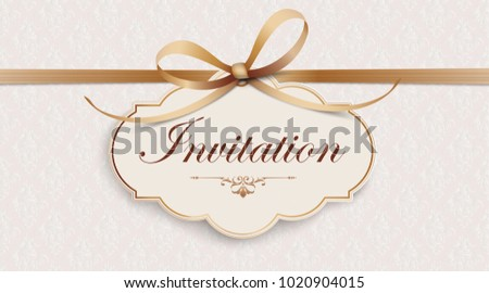Noble ribbon wallpaper with classic emblem and classic ornaments. Eps 10 vector file.