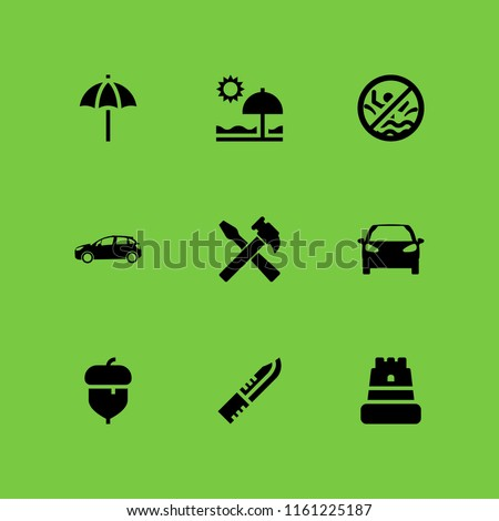 nobody icon. 9 nobody set with knife, swimming pool, acorn and hammer vector icons for web and mobile app