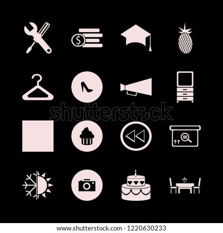 nobody icon. nobody vector icons set hanger, square barcode box, graduation hat and wrench screwdriver