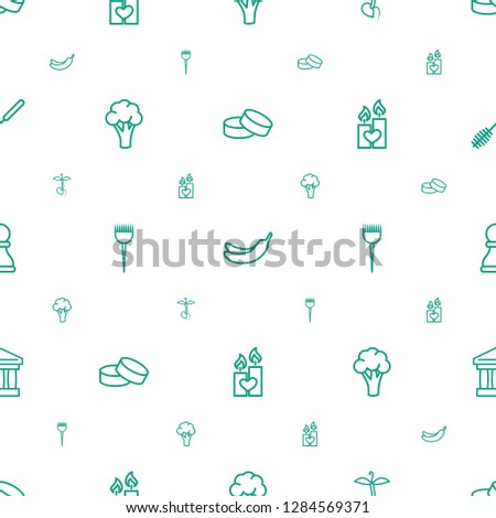 nobody icons pattern seamless white background. Included editable outline tablet, Banana, sprout, cauliflower, barber brush, candle heart icons. nobody icons for web and mobile.