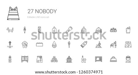 nobody icons set. Collection of nobody with microwave, wine bottle, veranda, bricks, paper bag, room divider, watering, glue, torch, water. Editable and scalable nobody icons.
