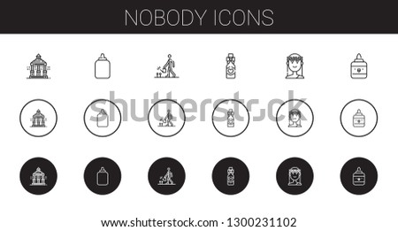 nobody icons set. Collection of nobody with veranda, glue, watering, wine bottle, muse. Editable and scalable nobody icons.
