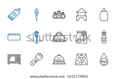 nobody icons set. Collection of nobody with water, paper bag, reception bell, flashlight, microwave, wine bottle, hood, street lamp, bricks. Editable and scalable nobody icons.