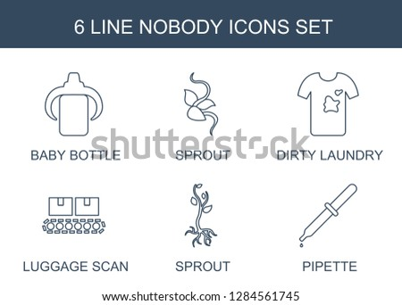 nobody icons. Trendy 6 nobody icons. Contain icons such as baby bottle, sprout, dirty laundry, luggage scan, pipette. nobody icon for web and mobile.