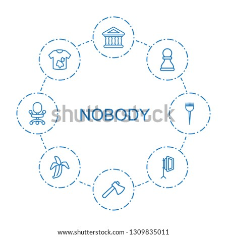 nobody icons. Trendy 8 nobody icons. Contain icons such as bank, axe, chess pawn, dirty laundry, soft box, banana, office chair, barber brush. nobody icon for web and mobile.