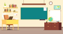 Nobody school classroom interior with teachers desk and blackboard vector illustration. Empty class for study, interior and chalkboard