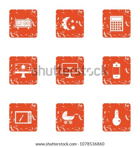 Shutterstock Nocturnal icons set. Grunge set of 9 nocturnal vector icons for web isolated on white background