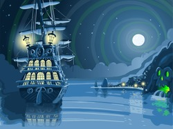 Nocturnal Pirate Caribbean Adventure Island Vector Background Pirate Galleon Ship Anchored Skull Nocturnal Background Pirate Ship Adventure Caribbean Island Background Faerie Vector 3D Illustration