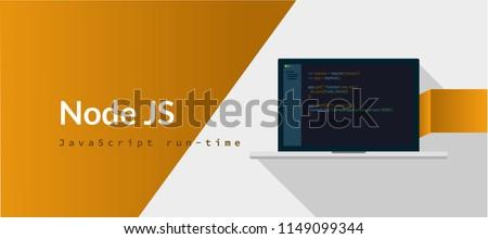 Node JS Javascript run-time programming language with script code on laptop screen, programming language code illustration