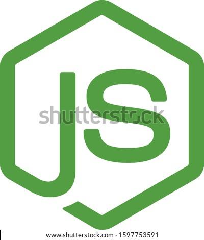 Node.js vector logo. Backend programming in JavaScript. Server development.