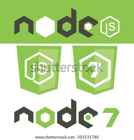Node js version 7 framework shield. Vector stock illustration of cross-platform runtime environment for developing apps.