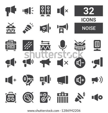 noise icon set. Collection of 32 filled noise icons included Mute, Megaphone, Amplifier, Loudspeaker, Drum, Volume up, Volume, Reduce volume, Announcer, Audio, Noise, Vuvuzela