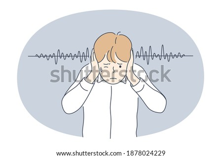 Noise, Loudness concept. Young irritated stressed boy covering ears with hands feeling impossible to stand sound and noises outside vector illustration  Photo stock ©