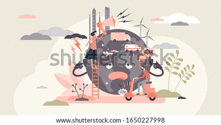 Noise pollution concept, flat tiny person vector illustration. Sad globe character cartoon with overpopulated urban sound problem effecting human health. Loud transportation and industrial activity.