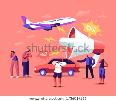 Noise Pollution Concept. Tiny Male and Female Characters Cover Ears to Avoid Annoying Sounds made by Transport and Huge Loudspeaker. People Suffer of Loud Noise Tinnitus. Cartoon Vector Illustration