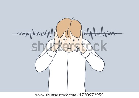 Noise, stress, protection concept Young frustrated depressed stressful boy kid child cartoon character plugged ears with hands from lound noisy sound or parents swearing. Family abuse illustration.