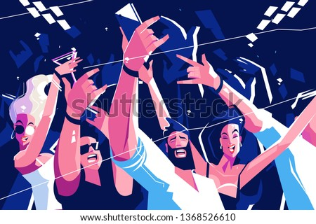 Noisy funny crowd vector illustration. Cheerful people screaming on concert or party. Bearded man making selfie on smartphone flat style design. Entertainment concept