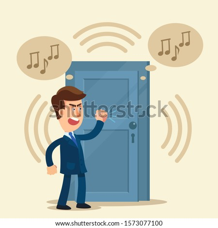Noisy neighbours. Bad neighbor. Angry, unhappy man knocks on door of neighbors who have loud music and noise. Vector illustration, flat design cartoon style. Isolated background. Foto d'archivio ©