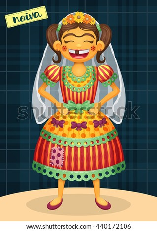 Noiva (Bride) - Festa Junina, brazilian june party - Happy hick character for june fest themes