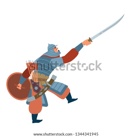 Nomad mongol man in steppe holding sword attacking. Central Asian warrior, attack in battle. Isolated vector illustration in flat cartoon style