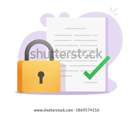 Non-disclosure nda agreement vector icon flat cartoon, confidential legal nondisclosure information document, copyright or secret locked file protected with padlock idea modern design Сток-фото ©