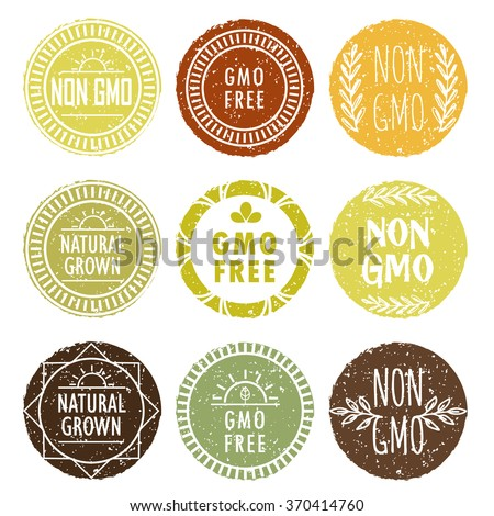 Non gmo and other healthy food press collection. Eco colored: brown, orange, green pastel elegant icon set.