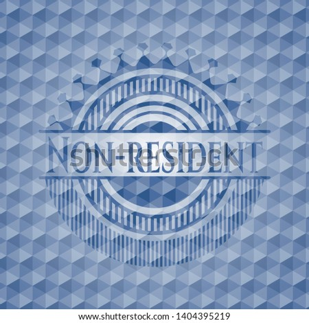 Non-resident blue emblem with geometric pattern background. Vector Illustration. Detailed.