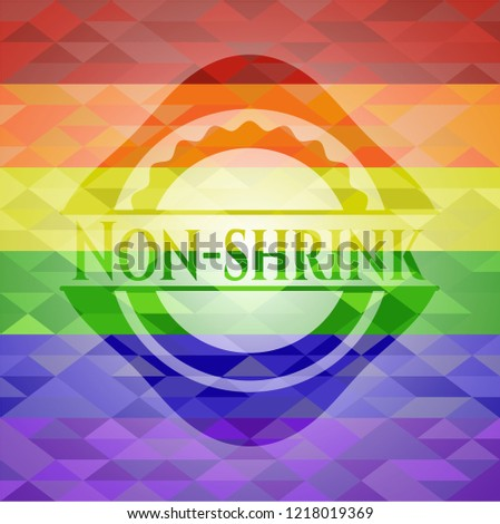 Non-shrink emblem on mosaic background with the colors of the LGBT flag