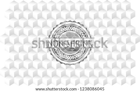 Non-shrink grey emblem with cube white background