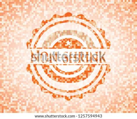 Non-shrink orange mosaic emblem with background