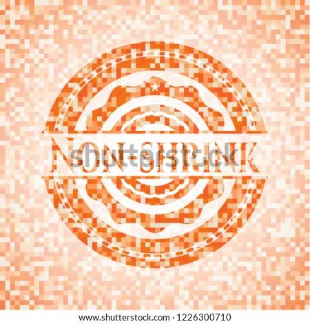 Non-shrink orange tile background illustration. Square geometric mosaic seamless pattern with emblem inside.
