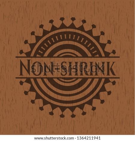 Non-shrink retro wood emblem