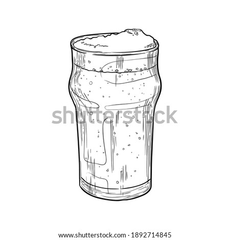 Nonic pint beer glass isolated on white background. Hand drawn vector illustration. Stock photo ©