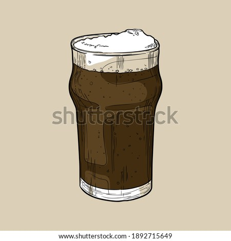 Nonic pint beer glass with dark beer. Hand drawn multicolor vector illustration. Stock photo ©