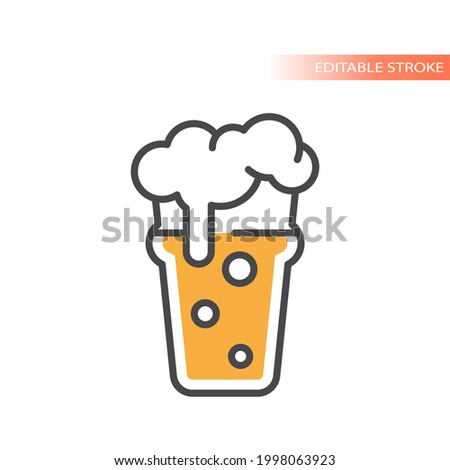 Nonic pint beer with foam and bubbles icon. Colorful vector glass, editable stroke. Stock photo ©