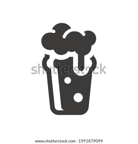 Nonic pint glass black vector icon. Cute beer glass symbol with foam and bubbles. Stock photo ©